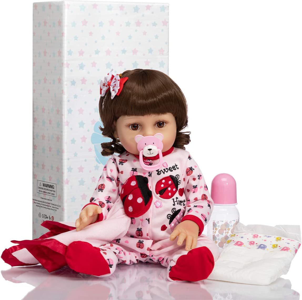Children Gift Set with Clothes and Toy MATICO Lifelike Reborn Baby Doll 19 Inch Soft Realistic Silicone Vinyl Weighted Full Body