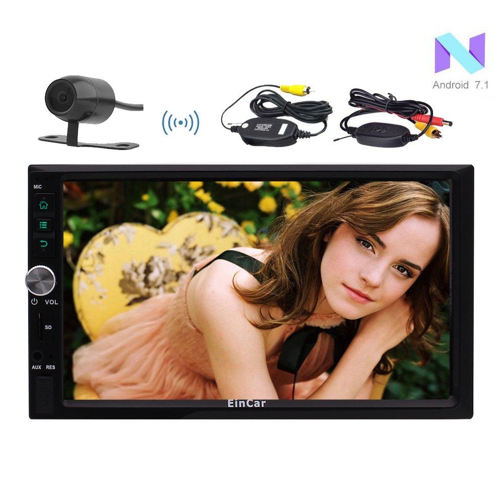 ワイヤレスリバースカメラ+のAndroid 7.1クアッドコアカーステレオシステムHD 800 * 480無料外付けマイクUSB / SD自動車ヘッドユニットプレーヤータッチスクリーン、3D GPSナビゲーション7インチラジオのBluetooth B075XMCY1L