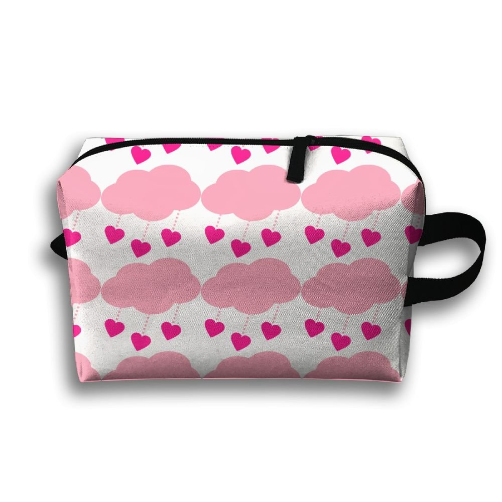 XiaNANA Love Rain 2c Waterproof Fabric Cosmetic Bags Portable Travel Toiletry Pouch Makeup Organizer Clutch Bag With Zippe