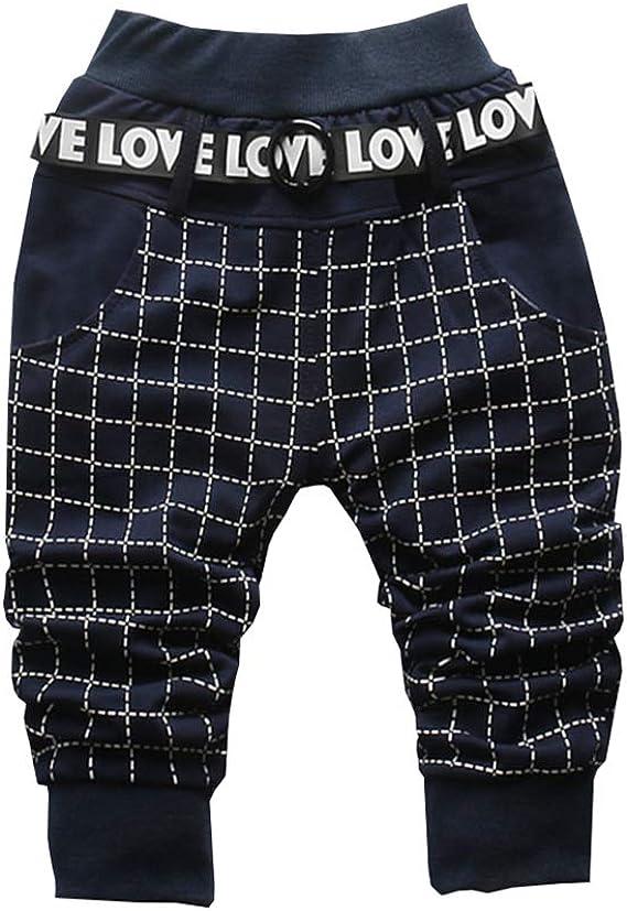 ALLAIBB Gar/çon Enfants Pantalon de Loisir /à Carreaux Pantalon de Sport Chic 1-3Ans