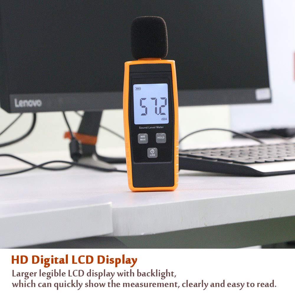 LCD Backlight Display MAX//MIN Hold Data Portable Digital Decibel Meter Audio Noise Measurement 30-130dBA LIUHUI Handheld Sound Level Meter