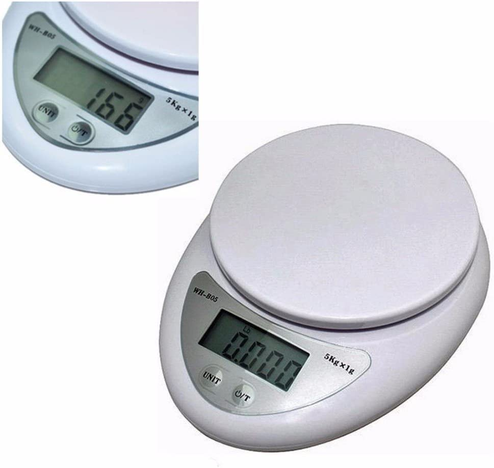 5000g x 1g Compact Digital Kitchen Scale Diet Food Tempered Glass w// Batteries