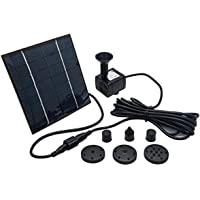 Solar Pond Pump - TOPMAX 7V 1.4W 180L/H Solar Panel Powered Water Feature Pump Garden Pool Pond Aquarium Fountain Brushless, Power of Pump - JT-180(CE/ROHS/IP68) DC7V,140MA
