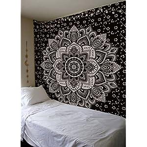 Madhu International New Launched Black Silver Passion Ombre Mandala Tapestry, Boho Mandala Tapestry, Wall Hanging, Gypsy…