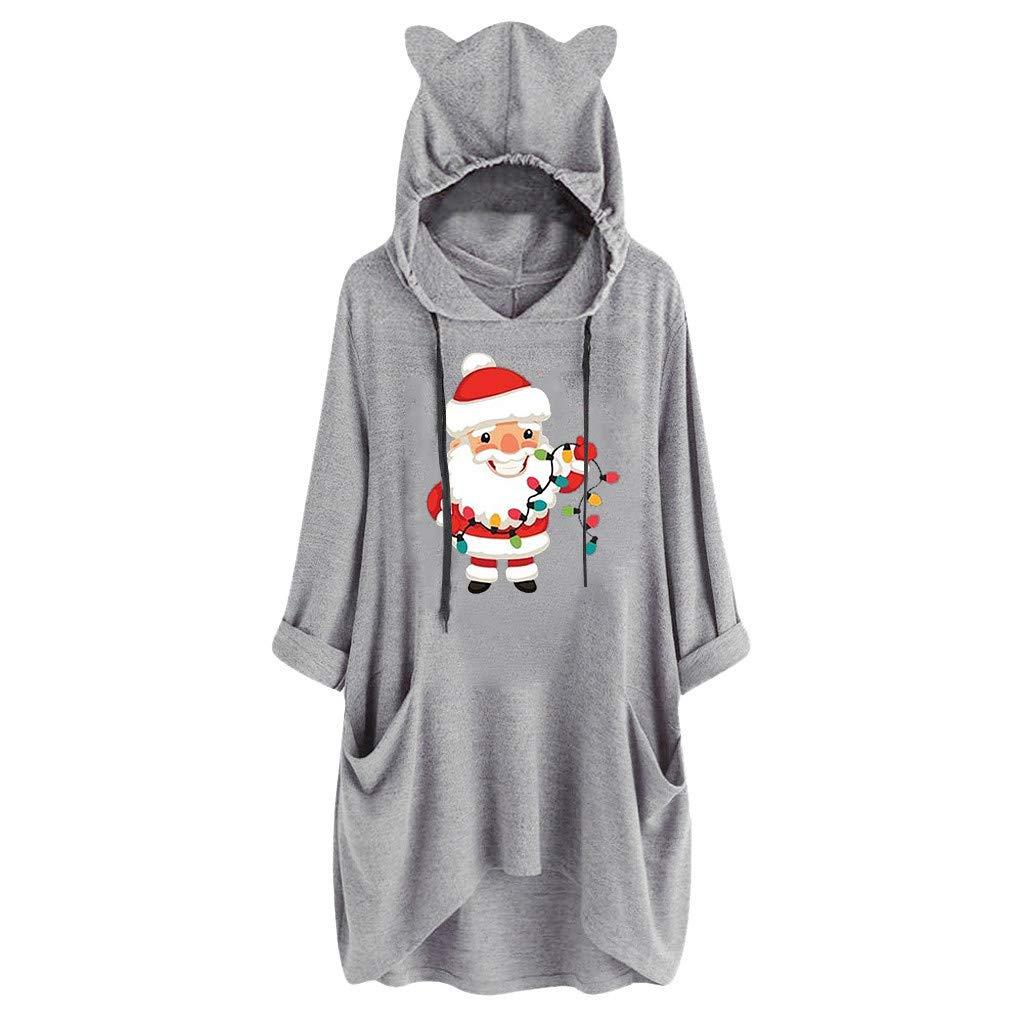 AMhomely Women Dresses Sale Women Ladies Casual Christmas Print Cat Ear Hooded Long Sleeve Pocket Tops Dress Plus Size Dress Party Elegant Dress Vintage Dress UK Size