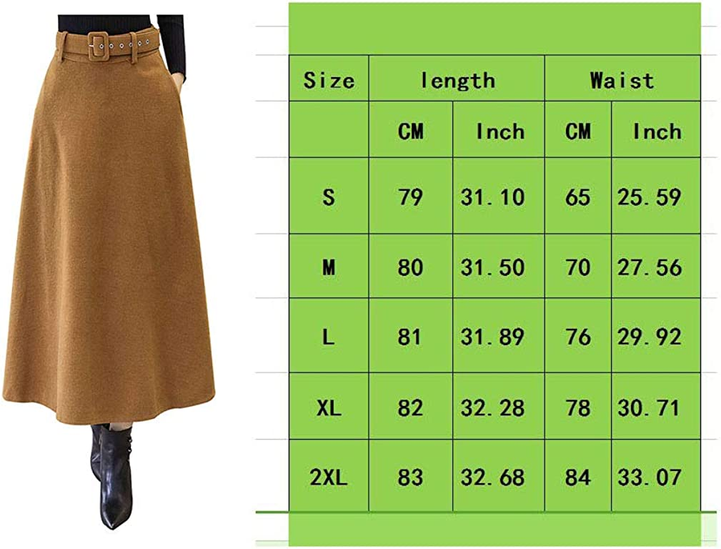 BiilyLi Femmes Vintage /Él/égant Haute Taille Hiver Jupe en Laine Automne Hiver Chaud A-Line Chaude Couleur Unie Longue Jupe Courroie Assortie
