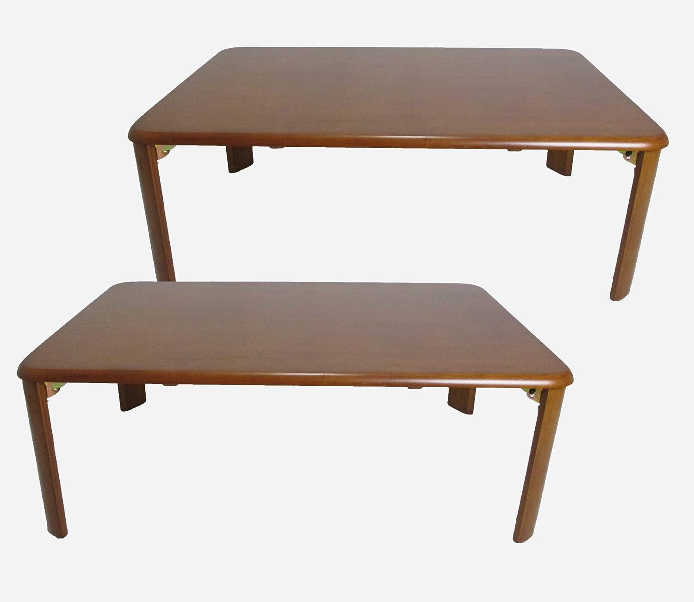 2点セット ローテーブル 木製 座卓 折りたたみ ブラウン lh-9060 br-2 B00TMVC1Z0