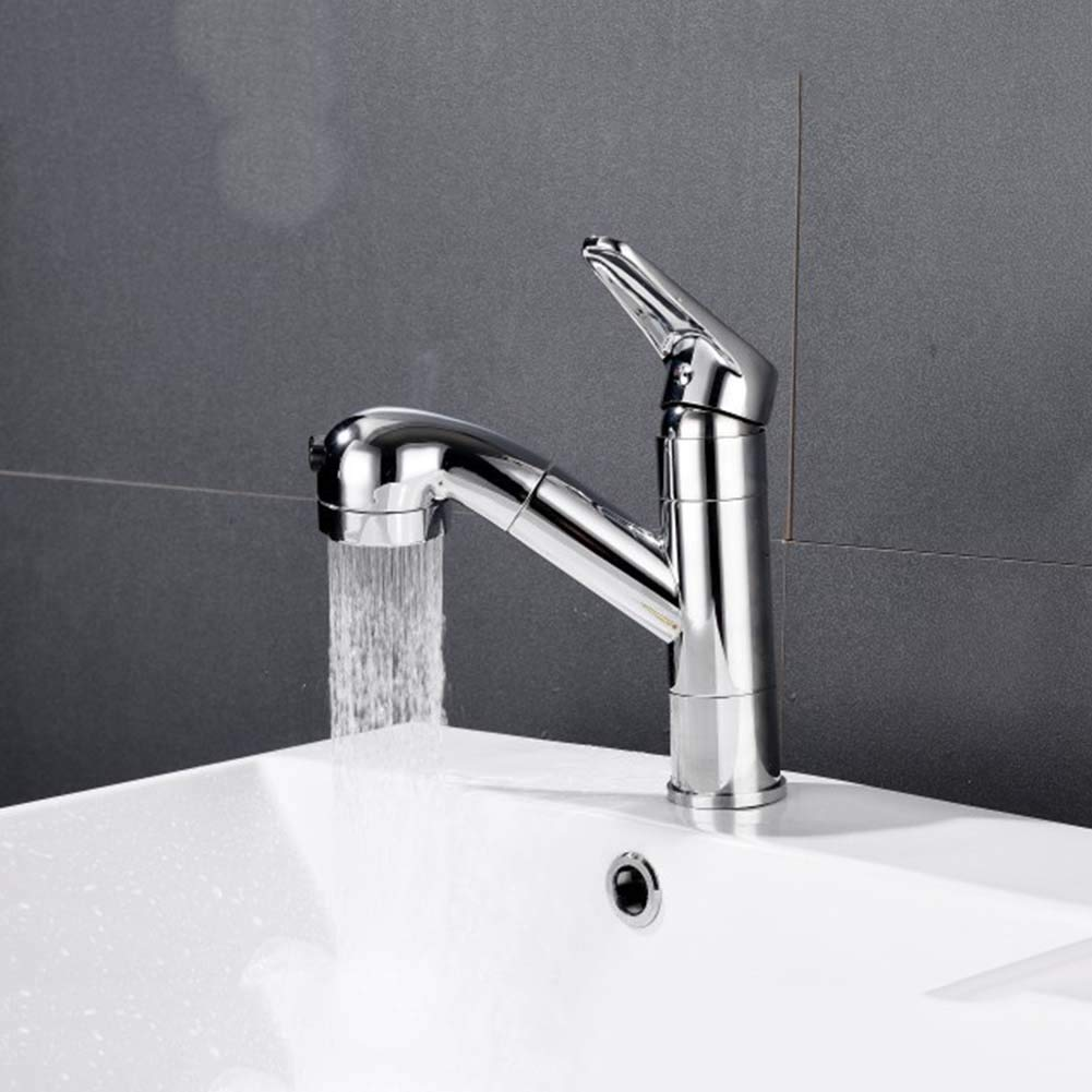 JTY Kitchen Sink Faucet with Pull Out Sprayer and Magnetic Docking Spray Head Pull Down Kitchen Faucet Lead Free Modern Stainless Steel Single Handle Chrome