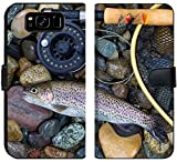 Luxlady Samsung Galaxy S8 Flip Fabric Wallet Case Image ID: 34662975 Top View of a Single Native Wild Trout Next to Fishing Reel Landing net
