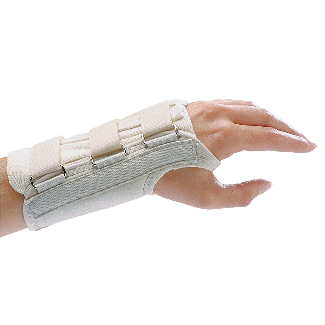 Rolyan D-Ring Left Wrist Brace, Size Large Fits Wrists 7.75''-8.5'', 8.875'' Long Length Support, Beige Brace with Straps and D-Ring Connectors to Secure and Stabilize Hands and Wrists