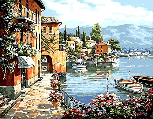 Morgofun DIY Painting Paint by Numbers for Adults, DIY Paint by Number Kits Peaceful Harbor Village Drawing 40x50cm