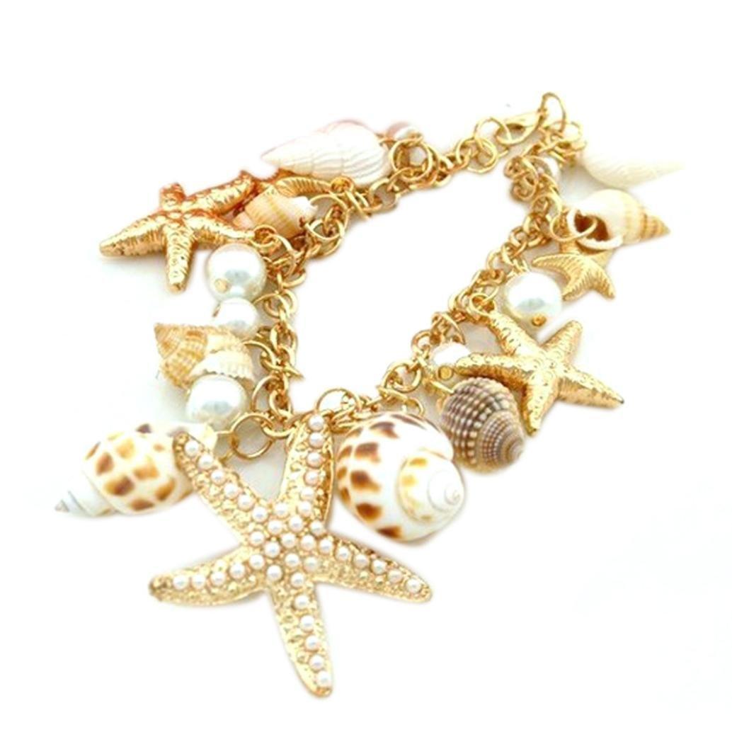 Leyorie Ocean Sea Shell Bracelets Cuff Starfish Gold Bead Pearl Bangles Pendant Beach Bohemian Jewelry