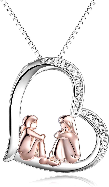 Collar para hermana de plata de ley chapado en oro rosa Big Sis Lit Sis Love Heart Amistad collar regalo para hermanas compañeras de clase niñas