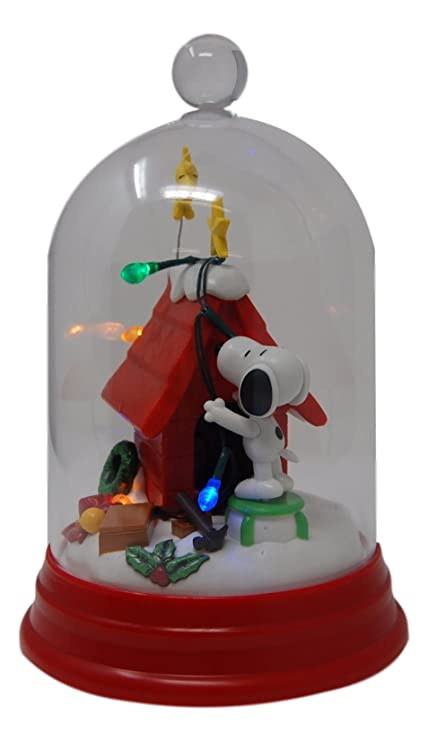 peanuts snoopy doghouse christmas holiday lightup tabletop dome 10quot