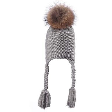 Kinder Ausgebeult Warm Häkeln Winter Wolle Stricken Ski Mütze Scull