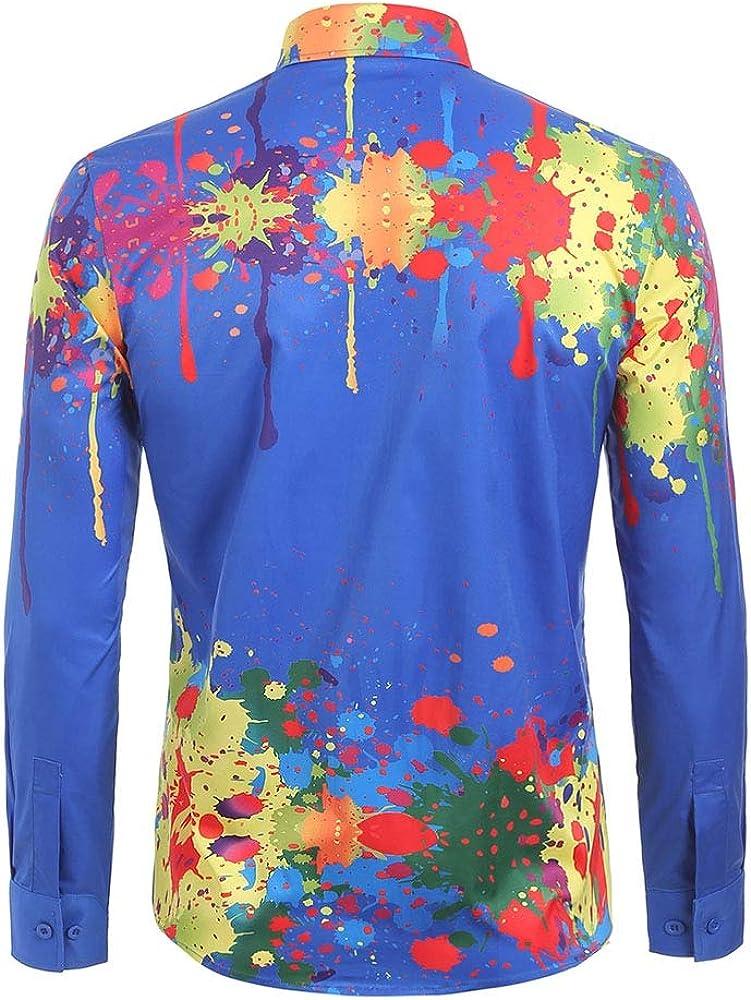 HANA+DORA Men Floral Print Button Down Short Sleeve Summer Hawaiian Shirt