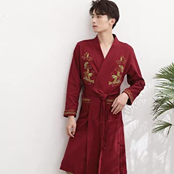 e306d124f1 Bathrobe ZLR Chinese Style Fashion Simple Autumn Robe Men s Long-sleeved  Cotton Spring Fall Pajamas