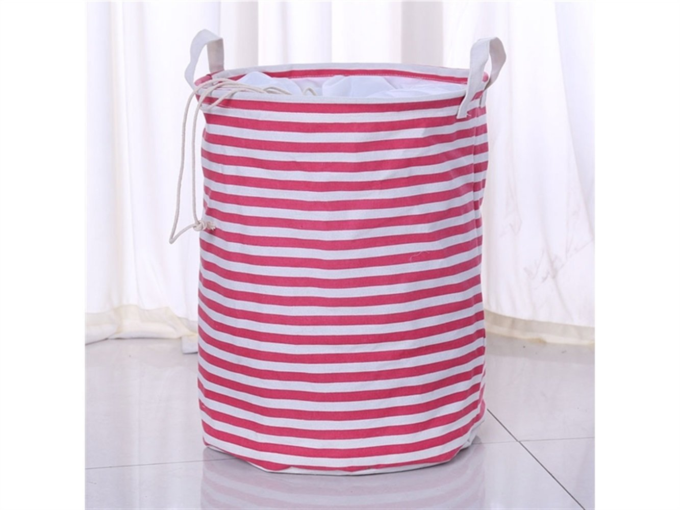 Gelaiken Lightweight Stripe Storage Bag Cotton Bucket Sundries Storage Bucket(Pink)