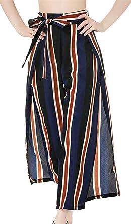73cedffbb8 Papijam Women s Fashion Waistband Striped Flowy Side Split Wide-Leg Pants  Blue XS