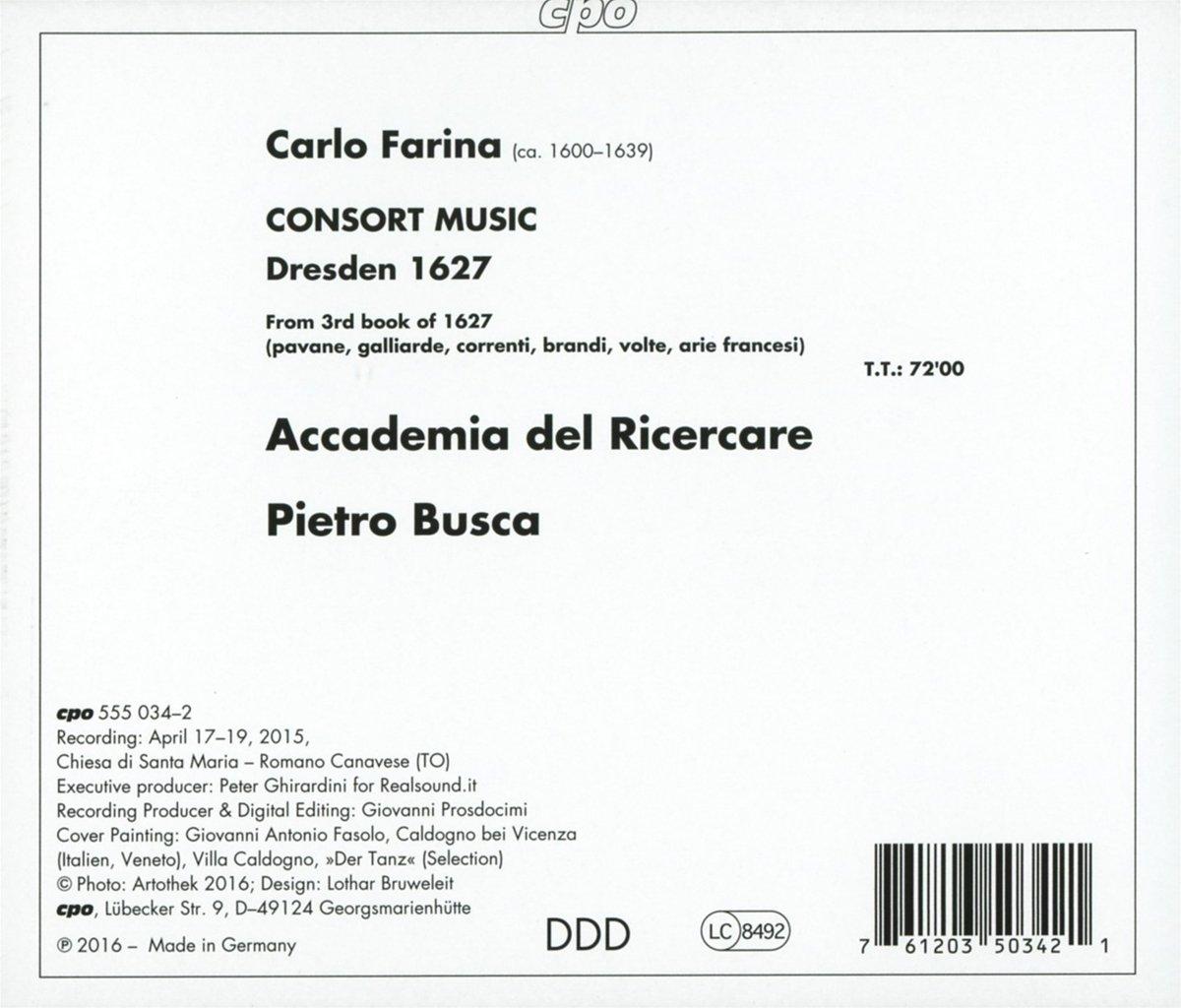 125ef59d5c7b Farina:Consort Music [Accademia del Ricercare,Pietro Busca] [CPO:  555034-2]: Amazon.co.uk: Music