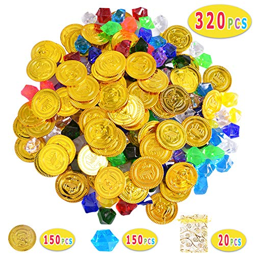 Max Fun 320 Pieces Pirate Toys Gold Coins and Pirate Gems Jewelry Play Set, Treasure for Pirate Party (Style 1 (320 pcs))]()