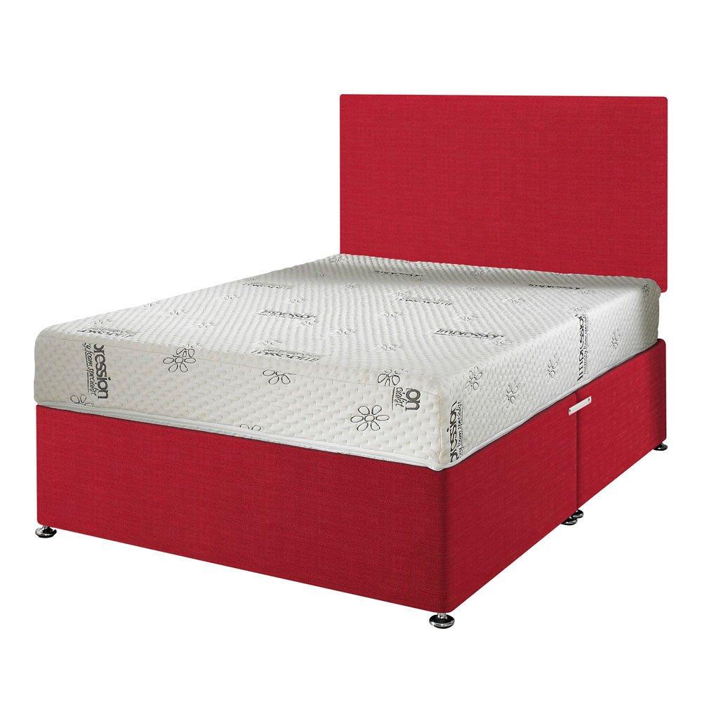Happy Beds 1000Orthopädisches Memory Visco Feste Matratze mit abnehmbarer Bezug mit Reißverschluss/Stoff Divan-Basis/verschiedene Schubladen Optionen/Uni Kopfteil, Rot, 150 x 200 cm