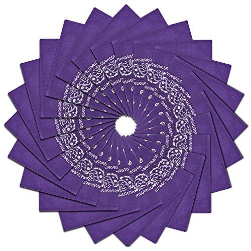 24 Pack Square Handkerchiefs Lightweight Wreath Bandanas,Deep