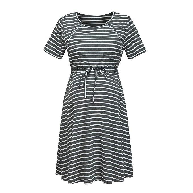 Vestidos Falda de Mujer Moda Rayas Ropa premamá Lactancia Materna ...