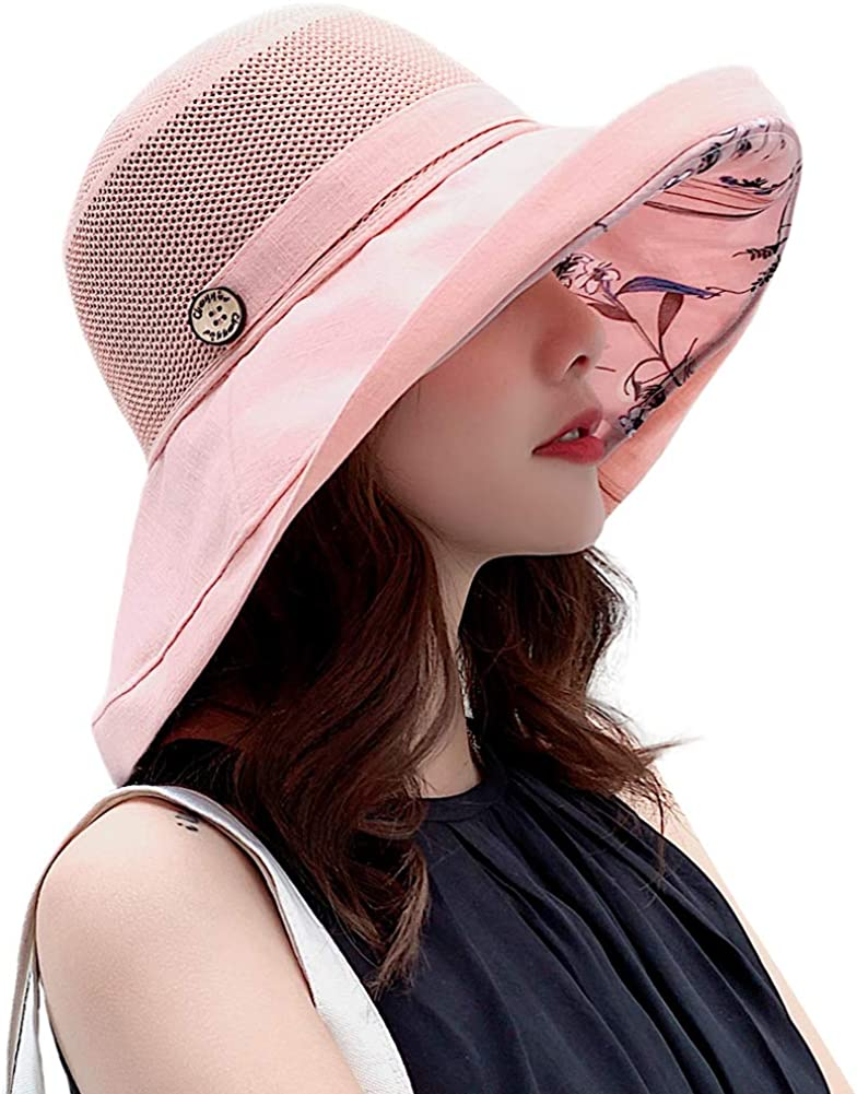 Women Mesh Sun Hats Summer Beach UV Protection UPF Packable Wide Brim Chin Strap