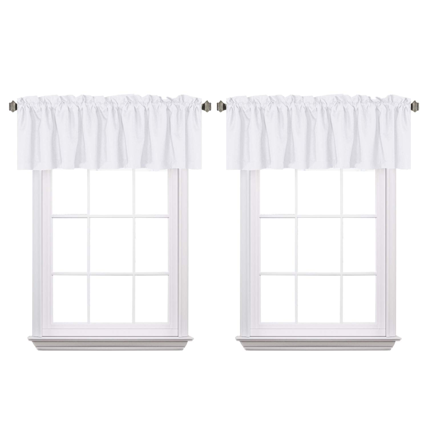 H.VERSAILTEX Pure White Window Treatment Curtain Valances Thermal Insulated Room Darkening Primitive Faux Linen Valances for Living Room, Rod Pocket, 2 Pack, 52 x 18 - Inch