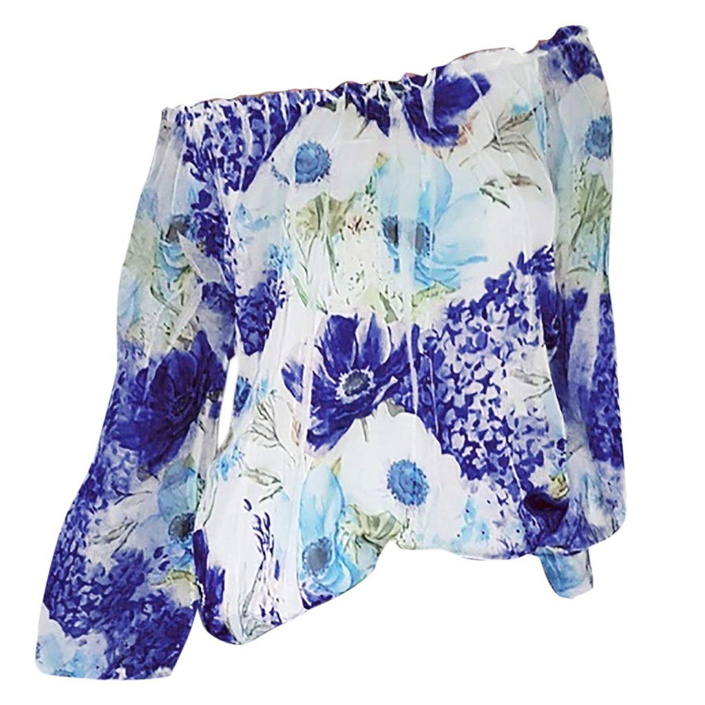 Long Sleeve Tee Blouse for Women,Amiley Womens Off Shoulder Sexy Floral Print Long Sleeve Tops Summer Casual Shirts Blouse (2XL, Blue)