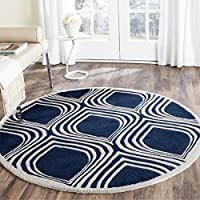 Safavieh Chatham Collection CHT758C Handmade Dark Blue and Ivory Premium Wool Round Area Rug (5 Diameter)
