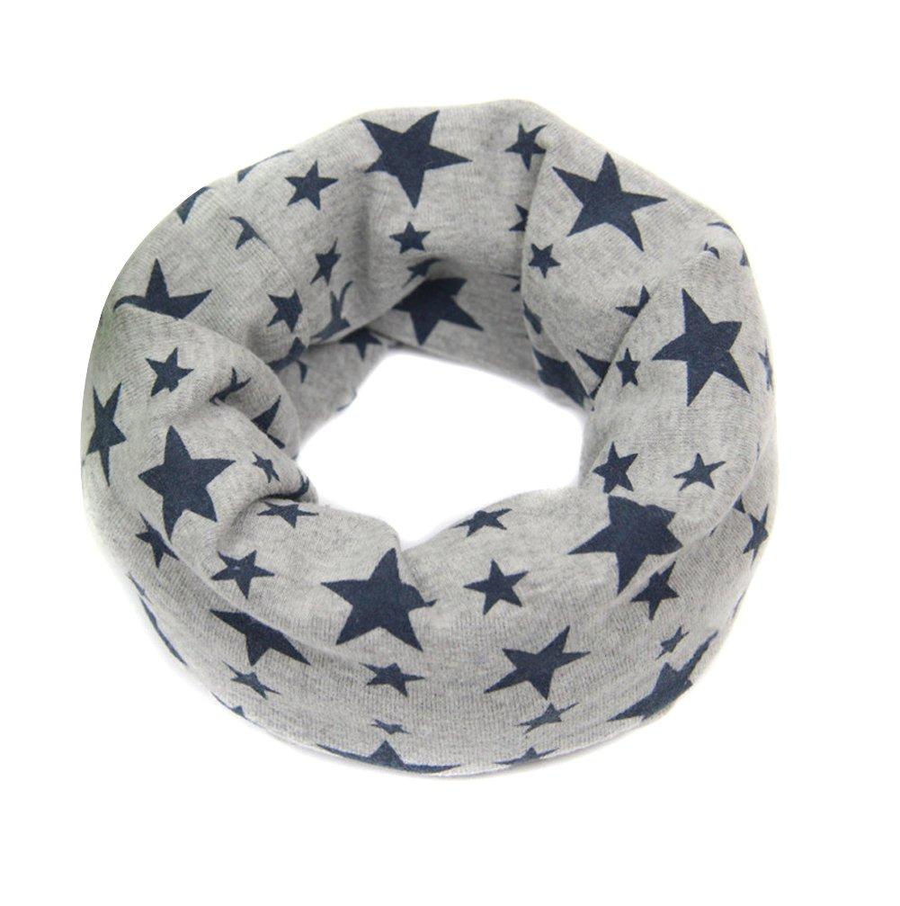Butterme Kid's Soft Skin-friendly Cotton Neck Warmer Neckerchief Star Printing Cute Scarf for 1-8 Years Old Kids (White+Orange Star) ZT00085WO