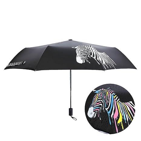 JAYLONG Paraguas de viaje 8 costillas cambian de color en el agua ...