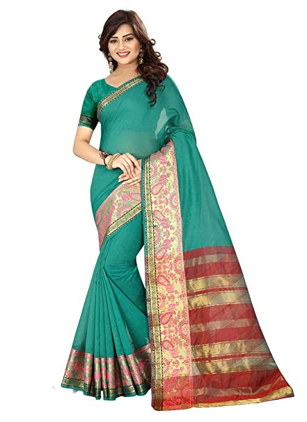 d99fb878353 GifCot Peacock Green Color Cotton Silk Saree  Amazon.in  Clothing    Accessories