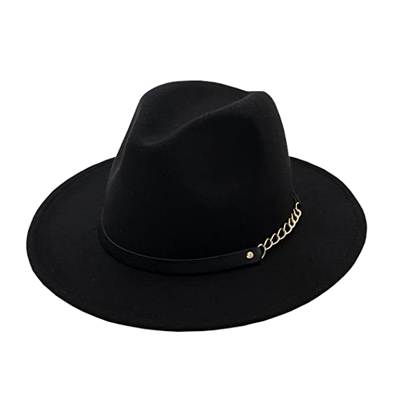 9adf99be3e9c7 AHATECH Women s Wide Brim Wool Felt Fedora Panama Hat Cap for Women Black