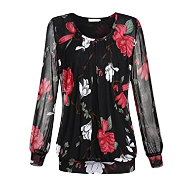 Lisli Women Color Block Floral Prints 3 4 Raglan Sleeves Tops Tee