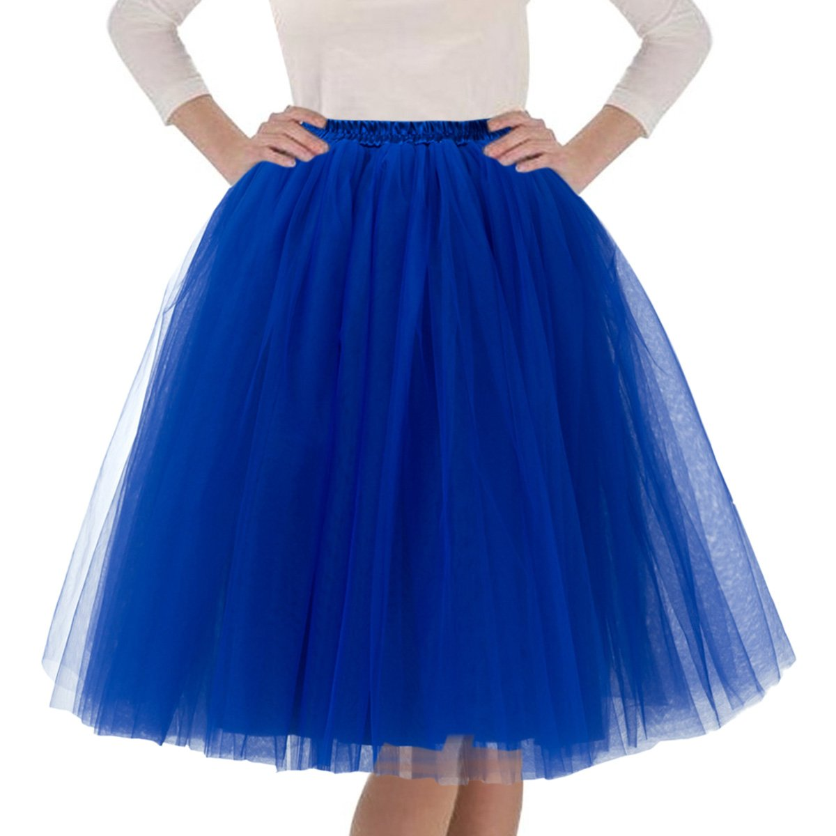 Quesera Women's Layered Tutu A Line Knee Length Elastic Waistband Puffy Tulle Skirt,Royal Blue,Free Size fit in 2-12