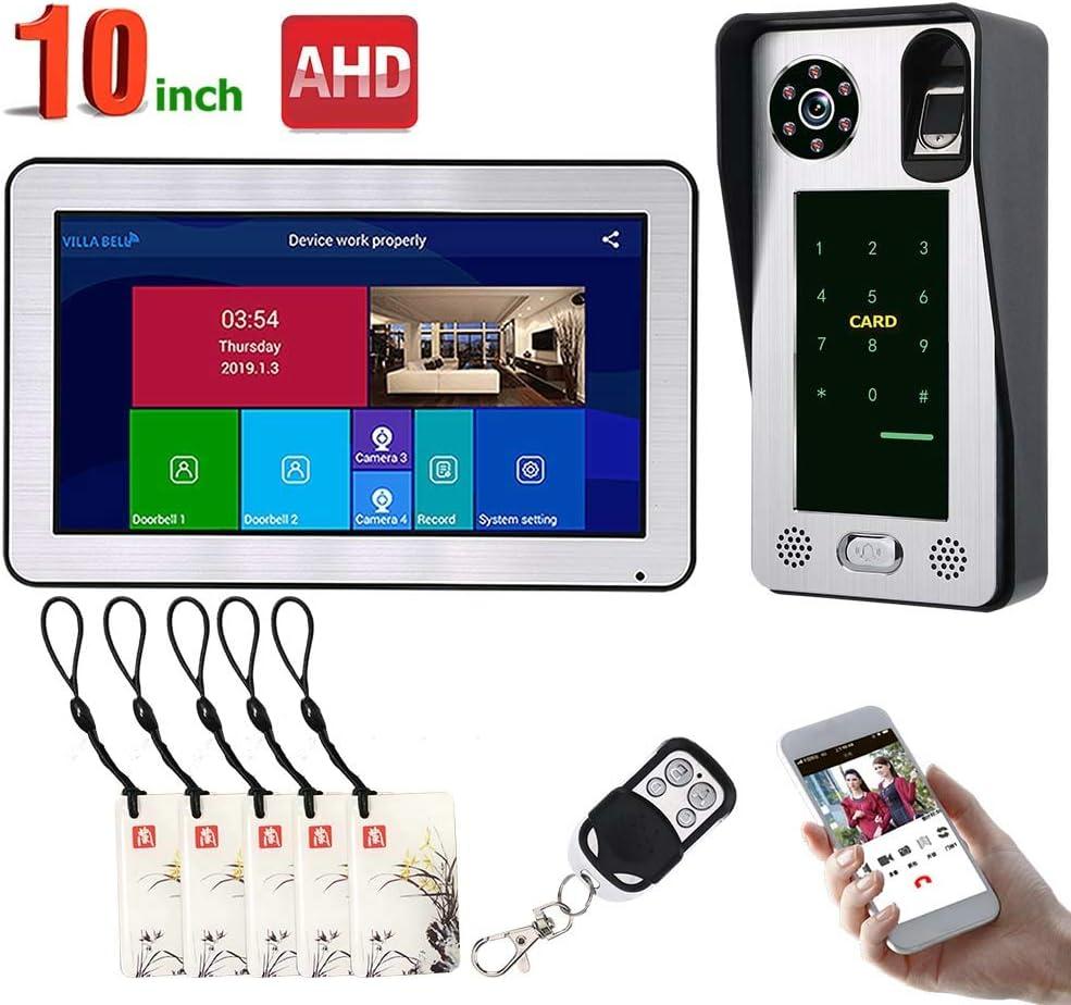 10 inch Wired Wifi Video Doorbell, Fingerprint IC Card Door Access Night Vision Security HD Camera Surveillance, Remote APP Intercom, Unlock,SetA 61f5Q9KiUlLSL1000_