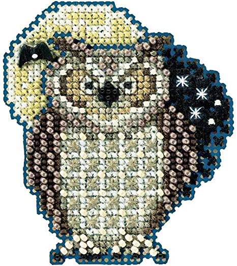 Hooty Owl Beaded Counted Cross Stitch Ornament Kit Mill Hill 2012 Autumn Harvest MH18-2204