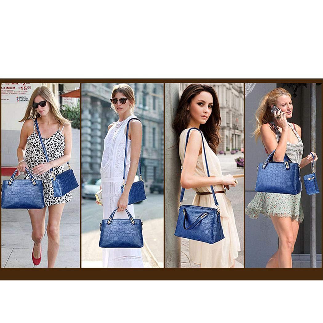 Kindsells 3 Pcs/Set Women Shoulder Tote Bags Vintage Crocodile Pattern Handbags Top Handle Satchel Purse Large Satchel