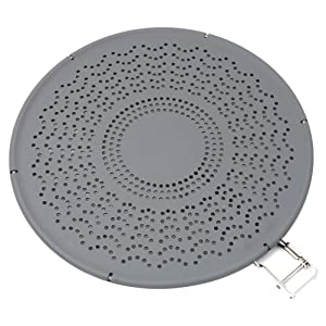 Premium Silicone Splatter Screen with Folding Handle, Heat Resistant Pan Cover/Strainer, Protects Skin from Burns - Splatter Guard for Cooking and Frying, 11.4 Inch