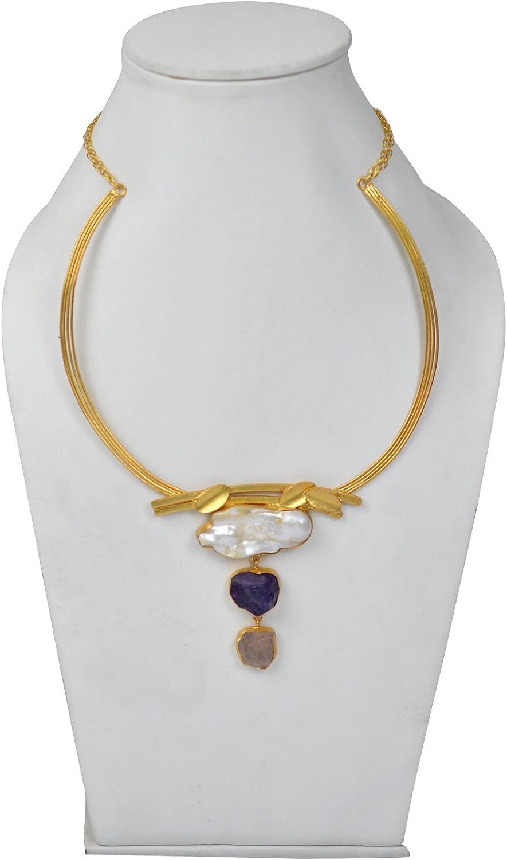 eurasia Handmade Amethyst Rough Gemstone Gold Plated Earrings