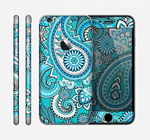 The Vibrant Blue and White Paisley Design Skin for the Apple iPhone 6