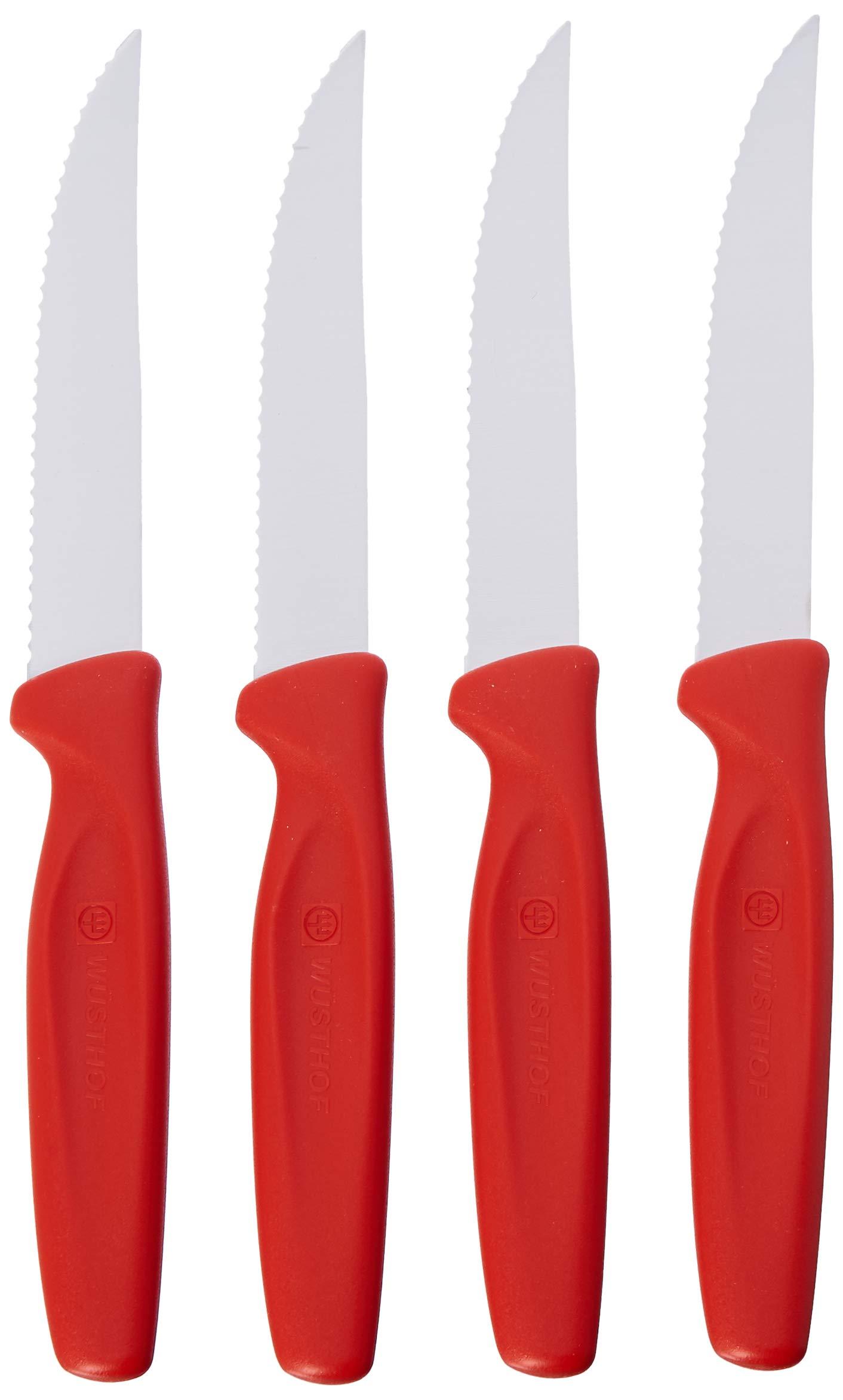 Wusthof Zest 4 Piece Steak Knife Set, Red