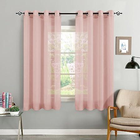 TOPICK Linen Look Sheer Curtains for Bedroom Eyelet Top Voile Sheer ...