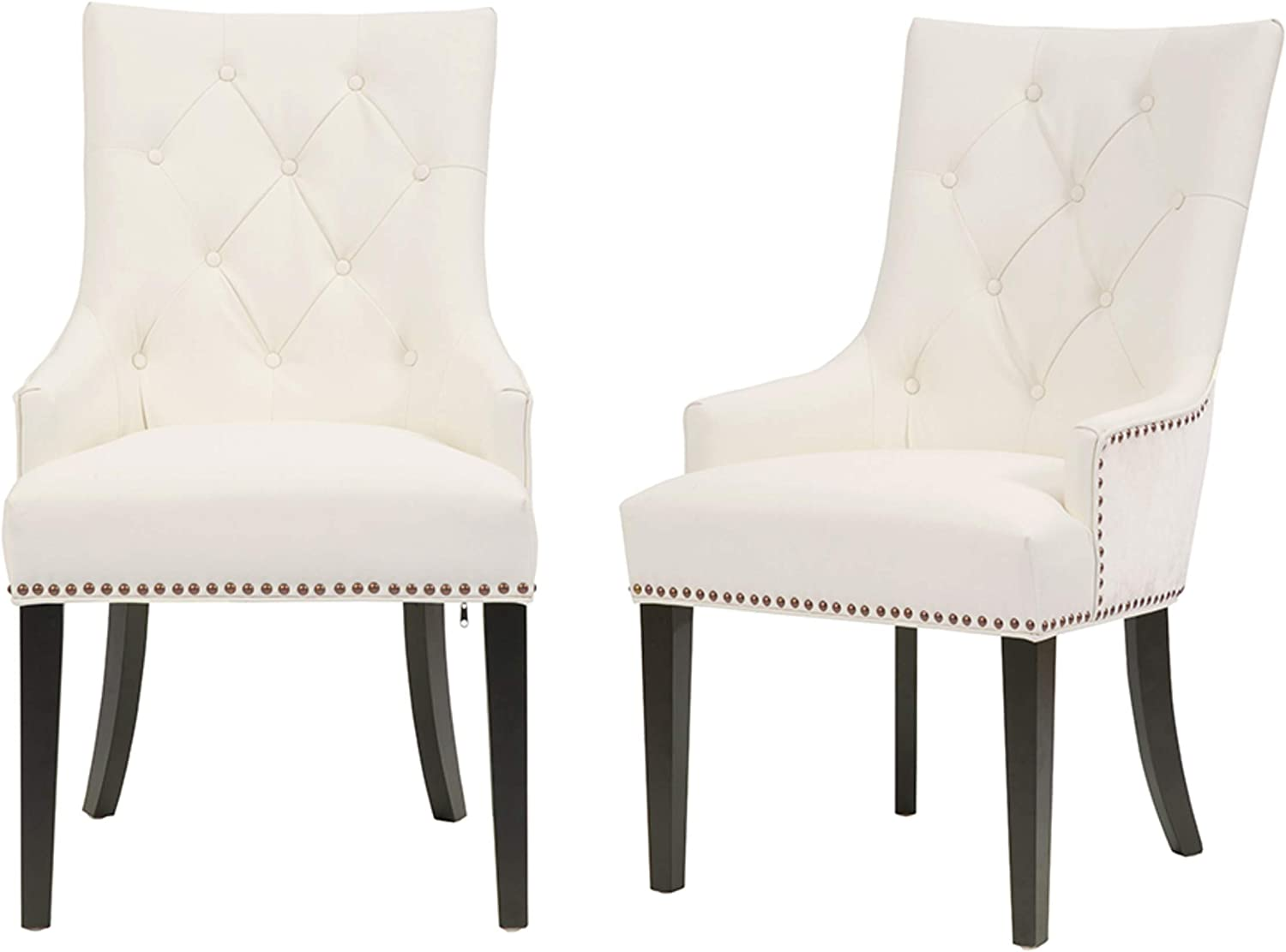 Iconic Home Cadence Dining Side Chair Button Tufted Pu Leather Velvet Polished Brass Nailheads Espresso Finished Wooden Legs White Modern Transitional Chairs Amazon Com