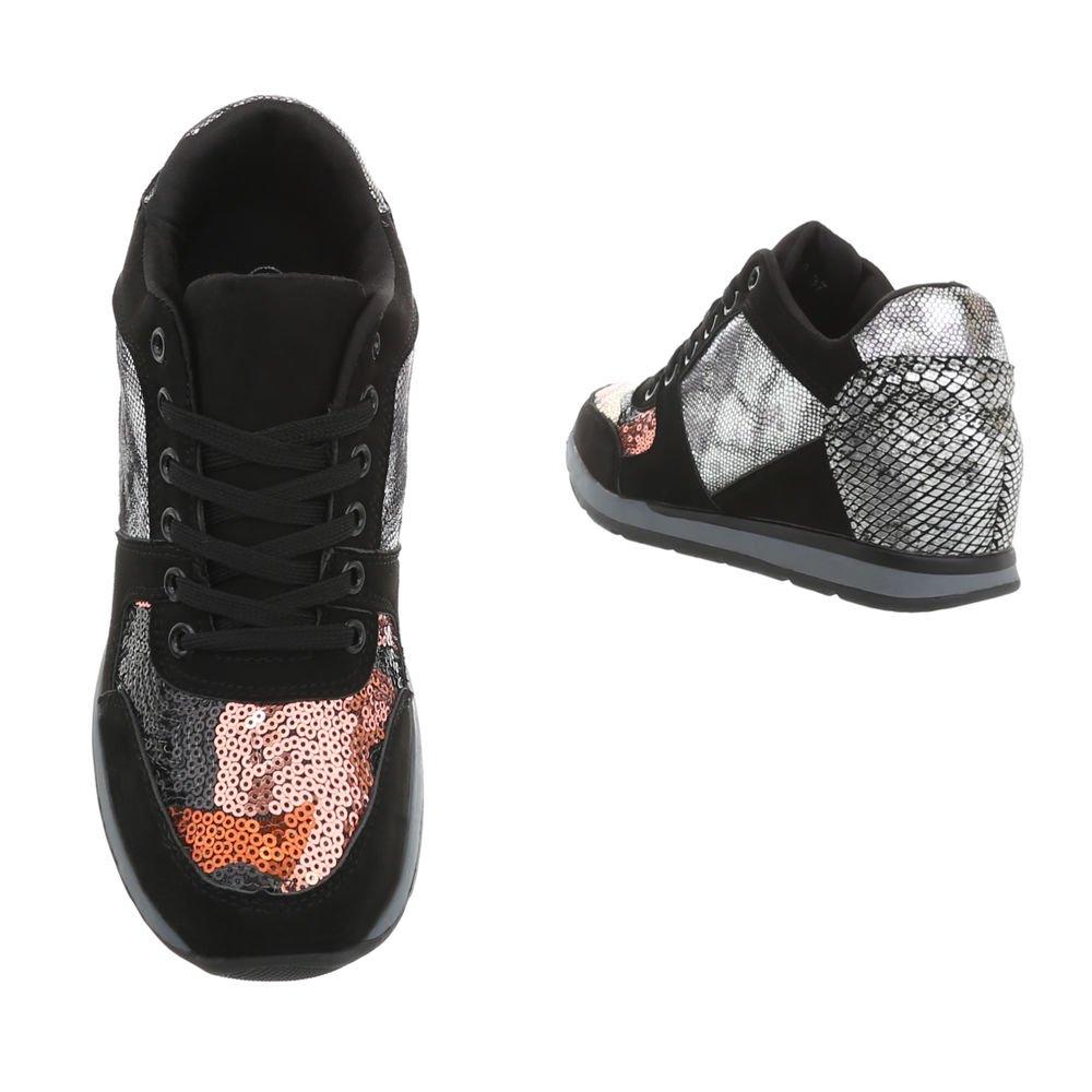 Ital-Design Sneakers High Damenschuhe Multi Keilabsatz/Wedge Schnürsenkel Freizeitschuhe Schwarz Multi Damenschuhe Ltp520-w8 8bc55d