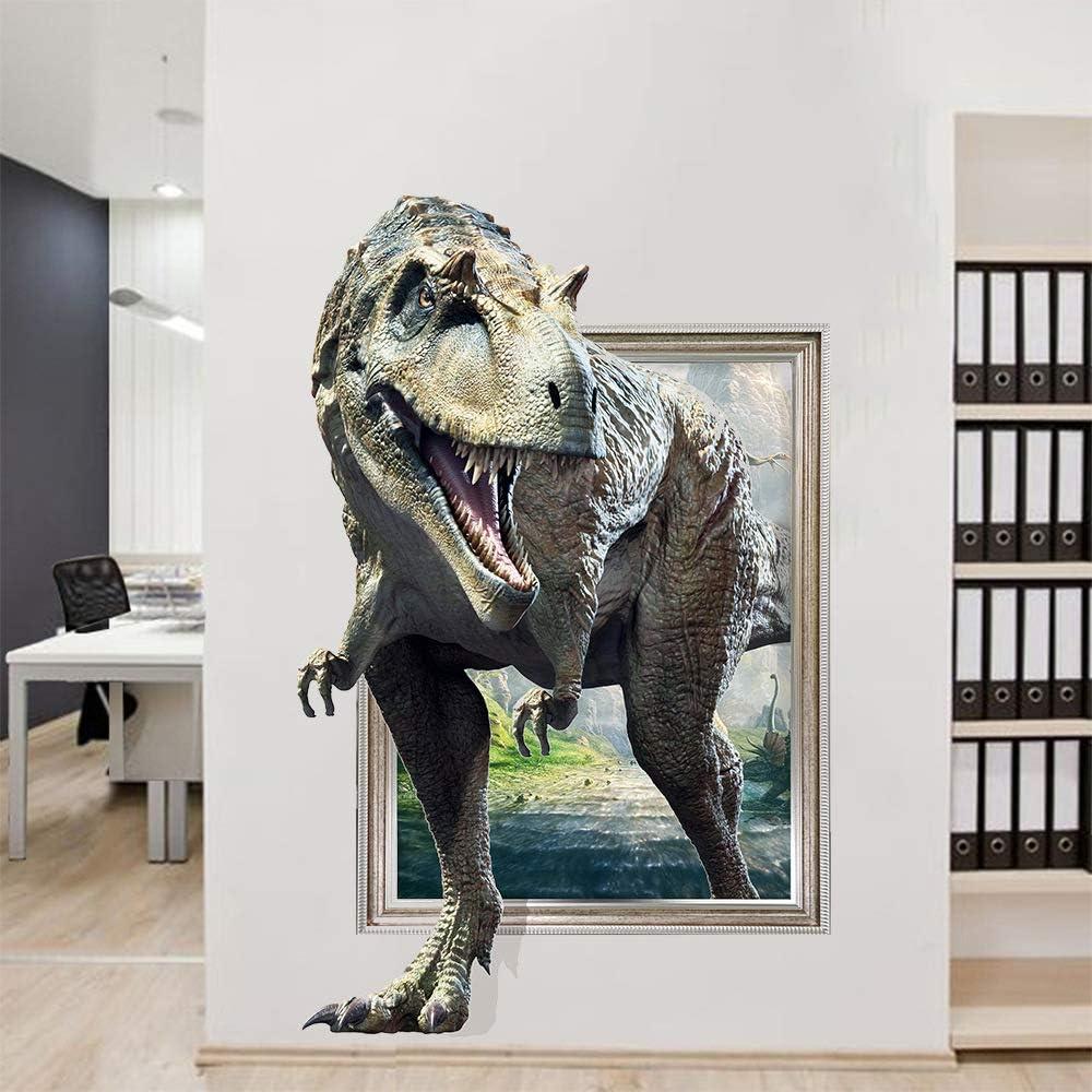 3D Wall Sticker Realistic Dinosaur Broken Wall Baby Kids Room Bedroom Decoraton Decals Art Mural Poster