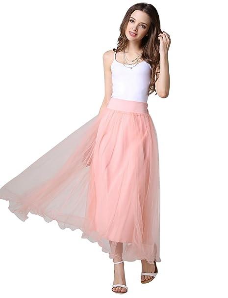 7b0f2b2c71 Tui rosa cintura elástica de tul faldas para mujer dama de honor falda tutú vestido  de